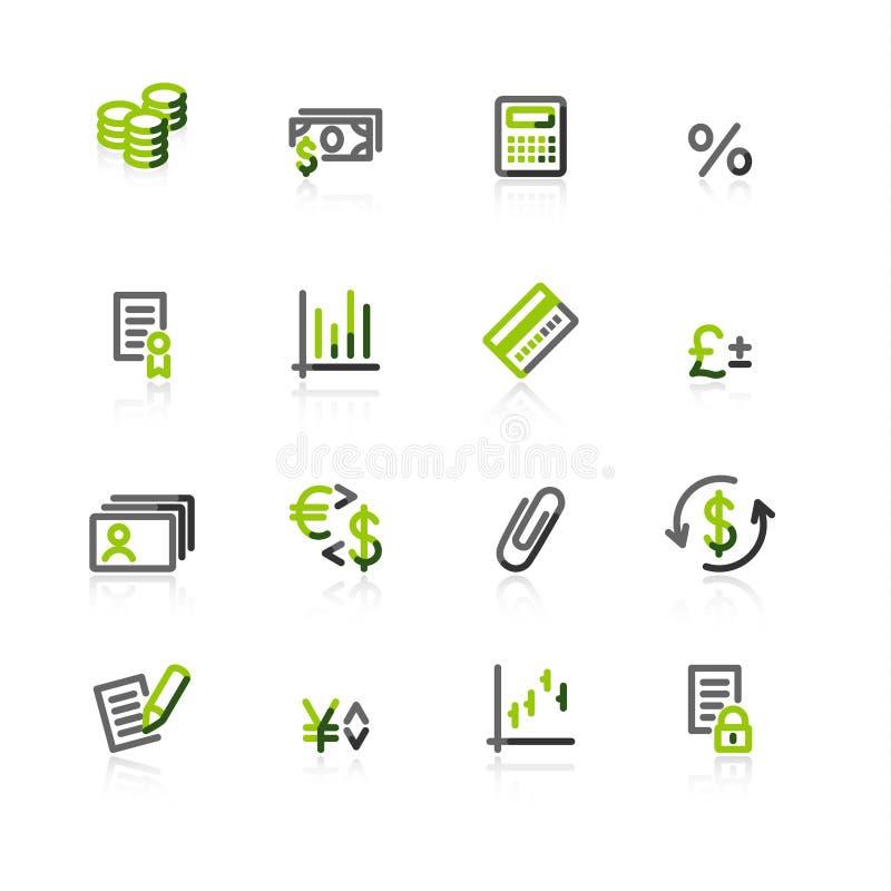 Grün-graue Finanzikonen vektor abbildung