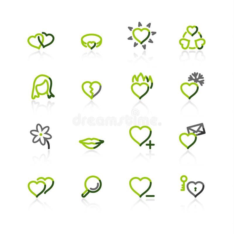 Grün-graue Liebesikonen lizenzfreie abbildung
