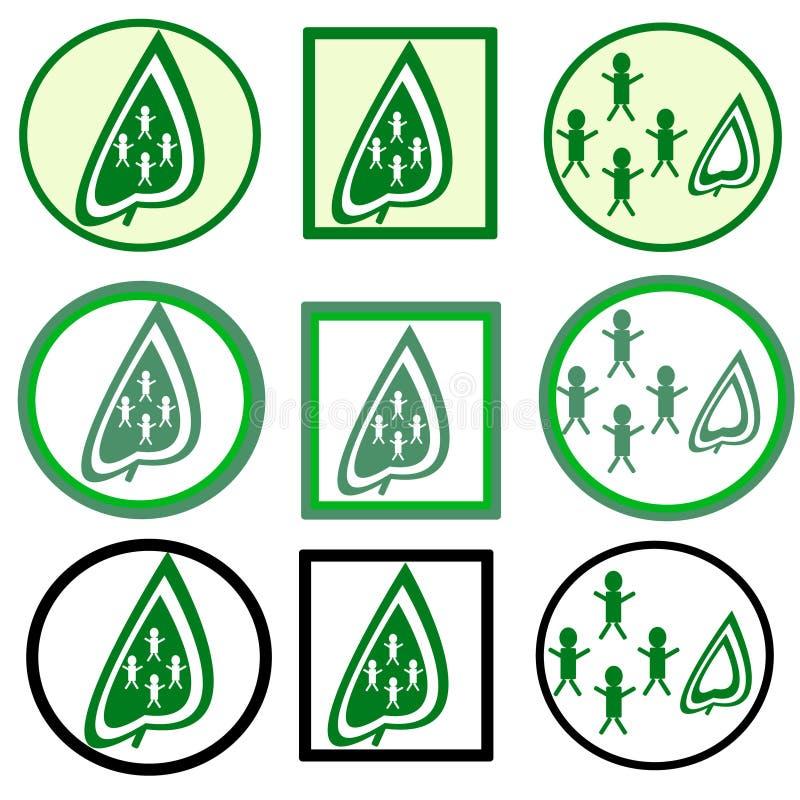 Grün lässt Ikone lizenzfreie stockfotografie