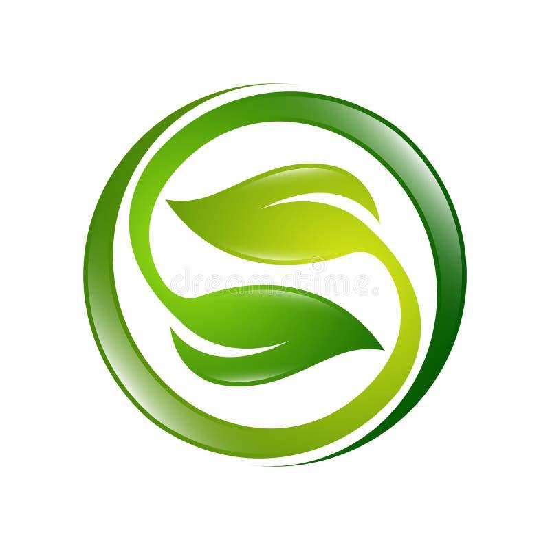 Grün lässt Ikone Illustrationsökologiebereich-Logo Vektor vektor abbildung
