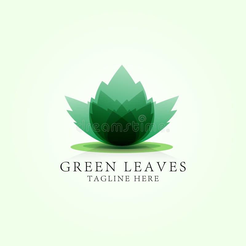 Grün lässt Lotoslogoschablone für Badekurortaufenthaltsraum, Schönheitssalon, Massagebereich, Yogamitte, Naturkosmetik vektor abbildung