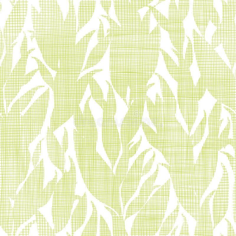 Grün lässt Textilbeschaffenheit nahtloses Muster lizenzfreie abbildung