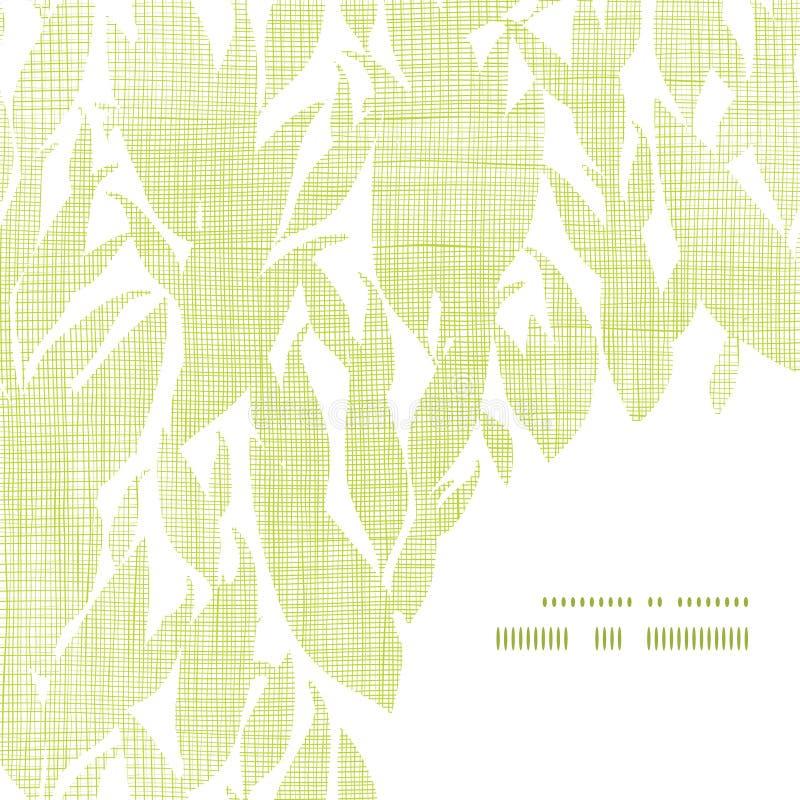 Grün lässt Textilbeschaffenheitsrahmen-Eckenmuster lizenzfreie abbildung
