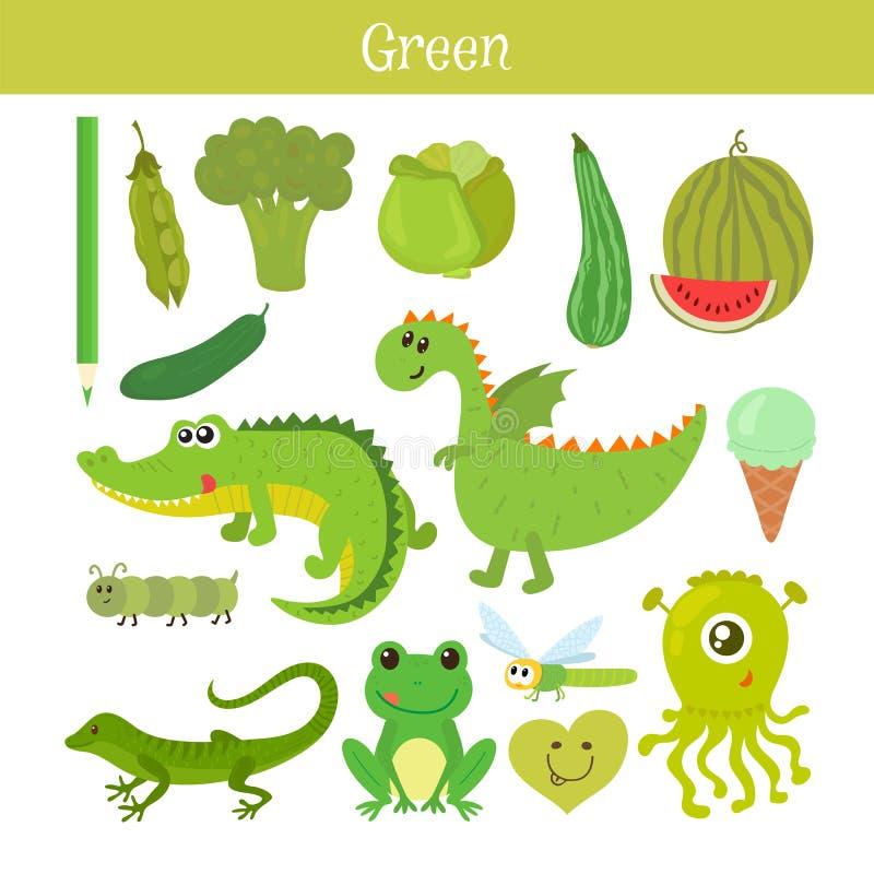 Grün Lernen Sie die Farbe Bildungssatz Illustration von Primärc stock abbildung
