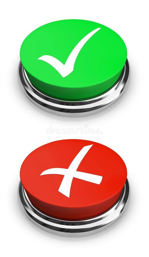 Grün oder Rot - ja oder NO-Tasten stock abbildung