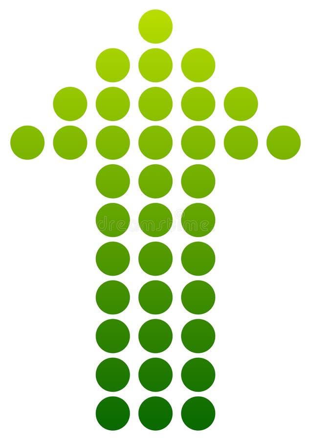 Grün punktierter Pfeil, der oben zeigt Vektor stock abbildung