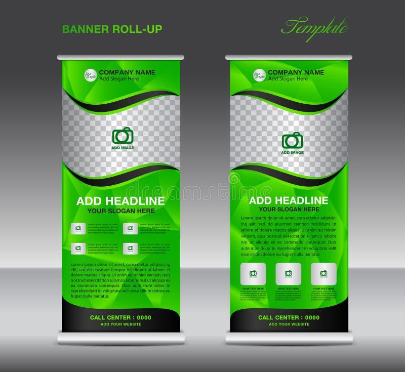 Grün rollen Sie oben Fahnenschablonenvektor, rollen oben Stand, Fahne lizenzfreie abbildung
