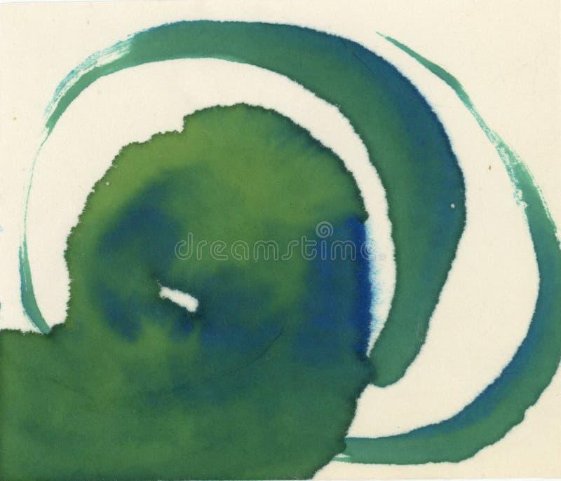 Grün und Blue Circle-Aquarell-Tinte masert abstrakte Malerei stock abbildung