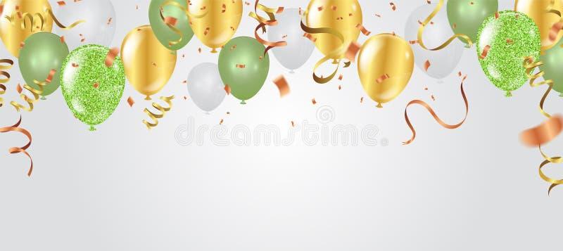 Grün und Gold mit dem Konfettiheliumballon lokalisiert in der Luft für Geburtstag Jahrestag, Feier, Ereignisdesign Vektor lizenzfreie abbildung