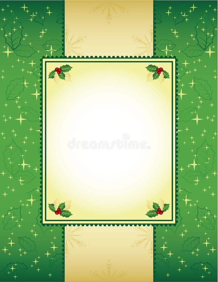 Grün und Goldweihnachtshintergrund lizenzfreie abbildung