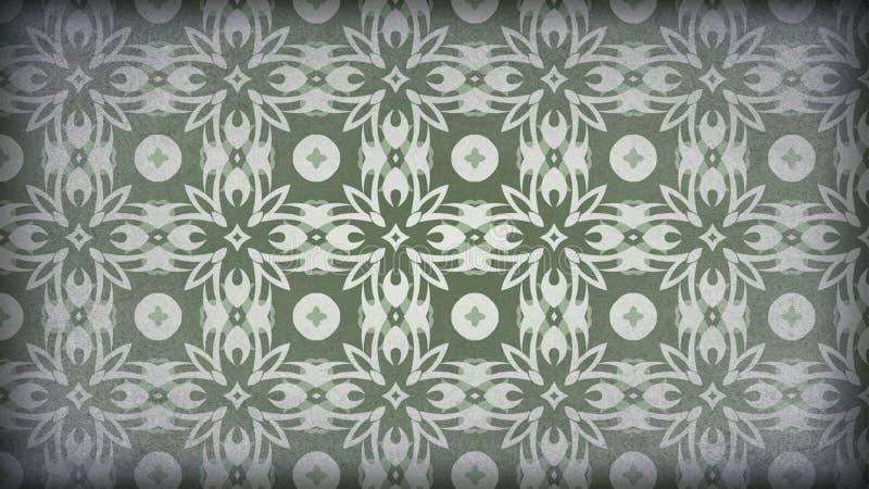 Grün und Gray Vintage Decorative Floral Ornament-Hintergrund-Muster-Entwurfs-Schablonen-schöne elegante Illustration stock abbildung