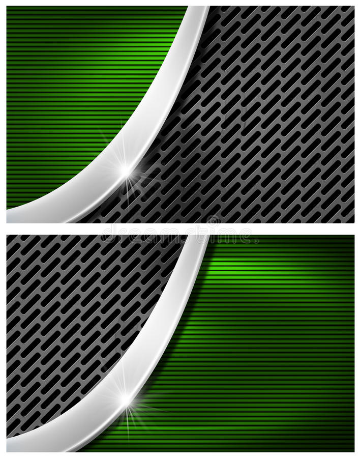 Grün und Metallvisitenkarte stock abbildung