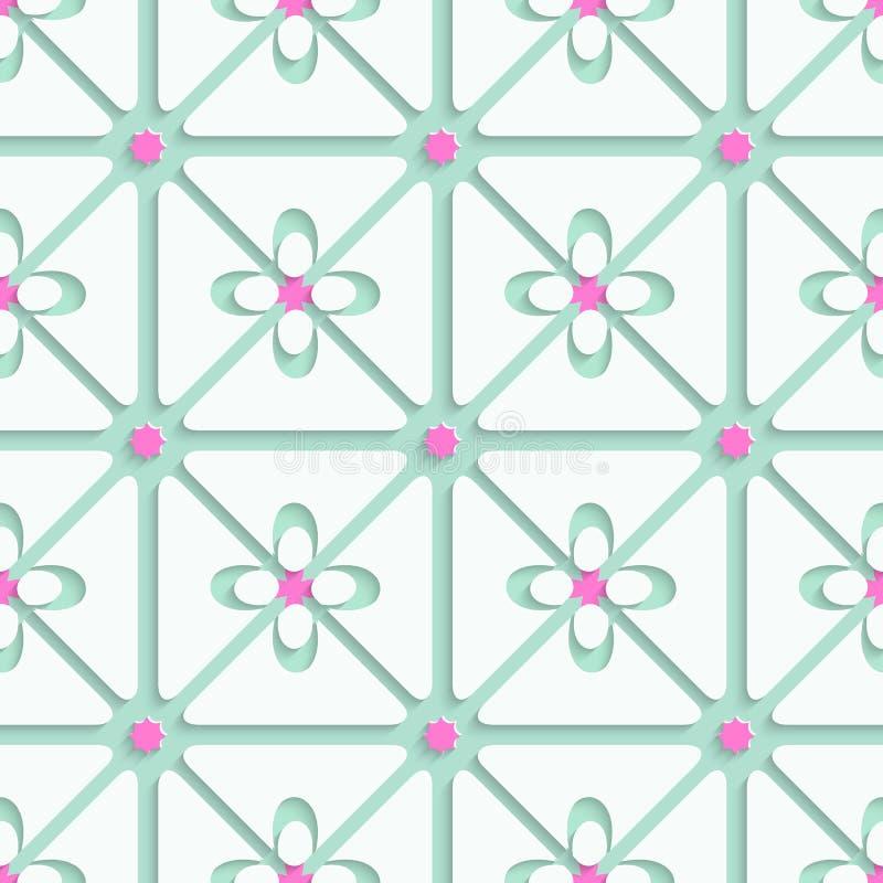 Grün und Rosa blühen einfaches Muster stock abbildung