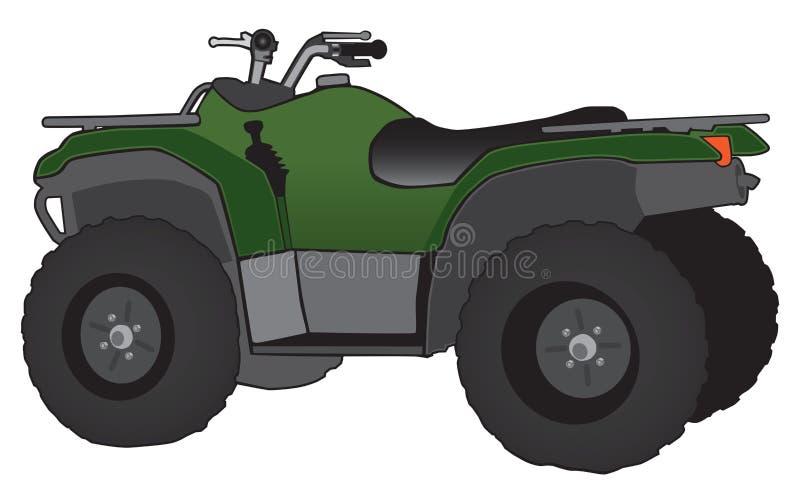 Grün und schwärzen Sie alles Gelände-Fahrzeug lizenzfreie abbildung