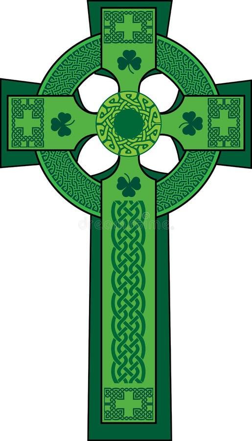 Grün verzierte keltisches Kreuz mit Shamrock vektor abbildung