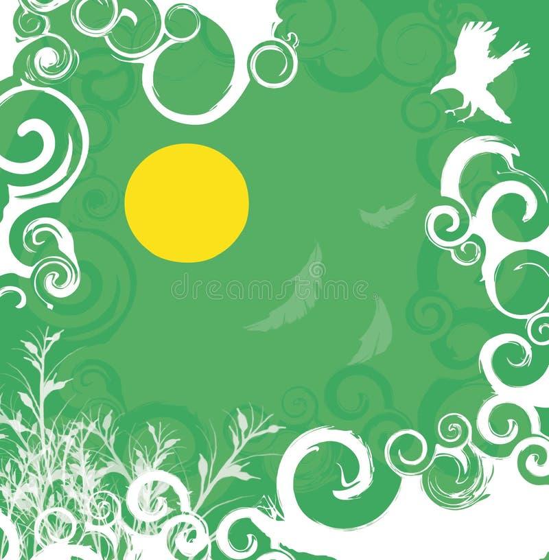 Grün-weißer Blumenhintergrund vektor abbildung