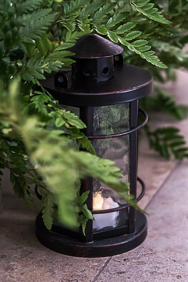 Grünblätter des Farns mit einer Weinlese latern Rustikale Hochzeitsdekoration stockfotografie