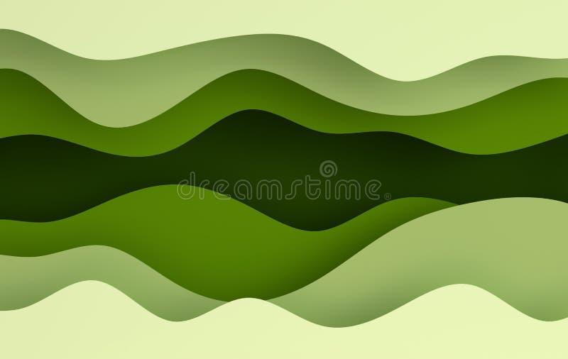 Grünbuchkunstkarikatur-Zusammenfassungswellen, Löcher Papier schnitzen Hintergrund Moderne Origamidesignschablone Abbildung der W vektor abbildung