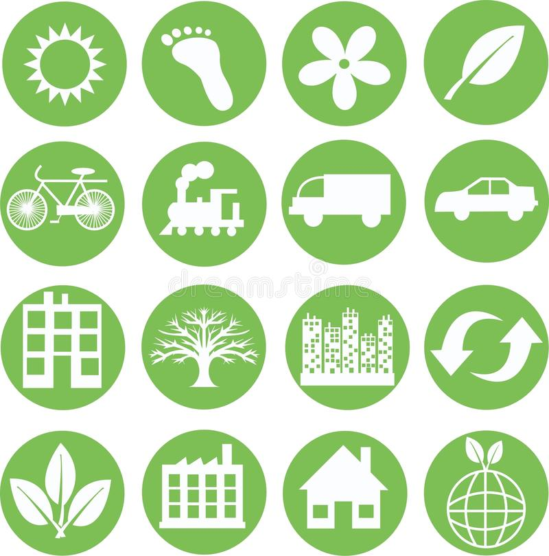 Grüne Ökologieikonen stock abbildung