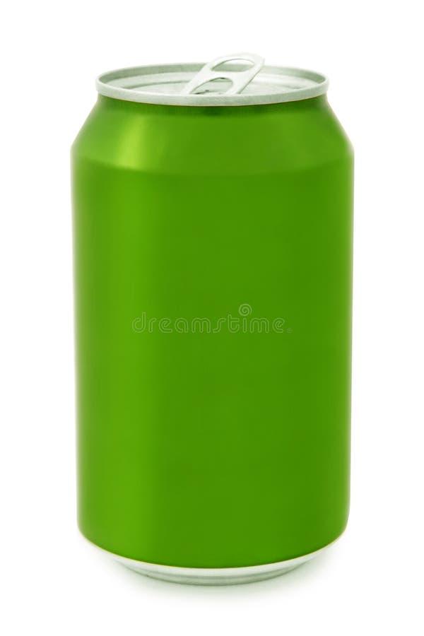 Grüne Aluminiumdose lizenzfreies stockfoto