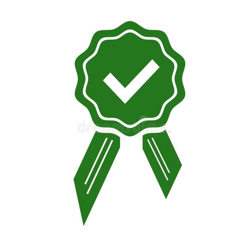 Grüne anerkannte oder zugelassene Medaillenikone in einem flachen Design Rosettenikone Preisvektor stock abbildung