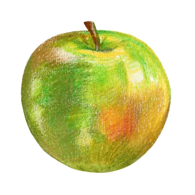 Grüne Apfelillustration auf weißem Hintergrund, Hand gezeichnete Skizze, Lebensmittelelement, saftiger Bestandteil, organisch lizenzfreie abbildung
