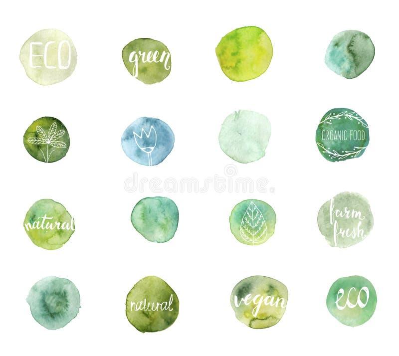Grüne Aquarellflecke stock abbildung