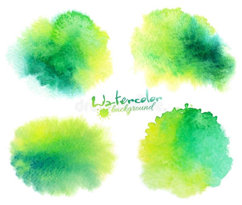 Grüne Aquarellfleckhintergründe eingestellt auf Weiß vektor abbildung