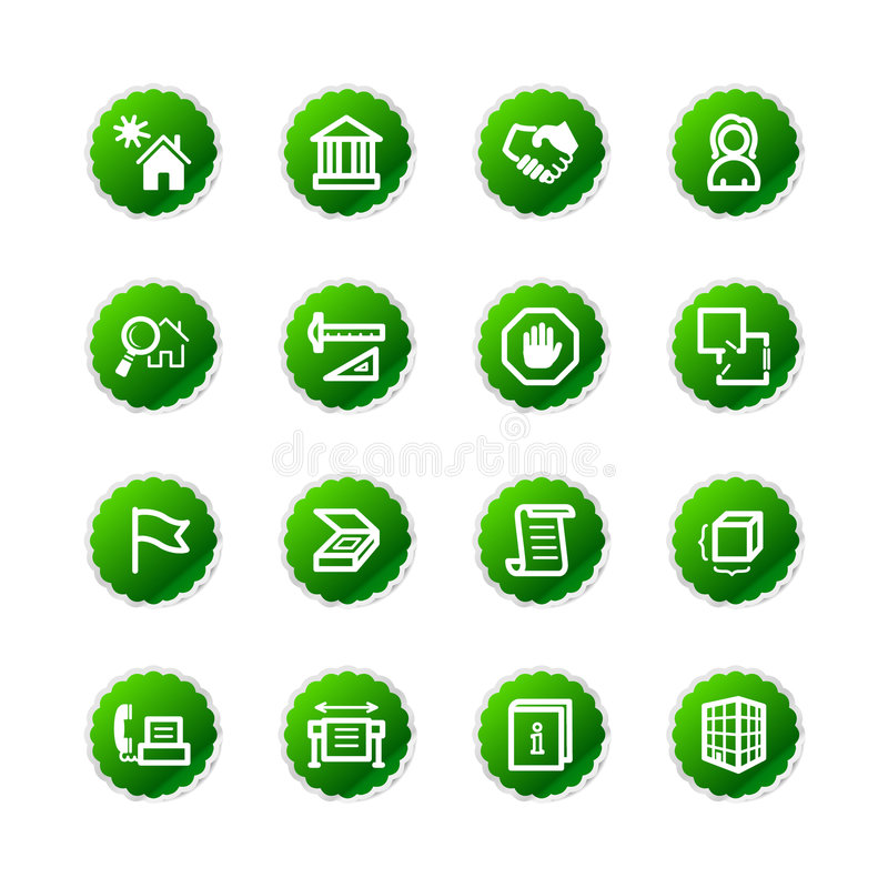 Grüne Aufklebergebäudeikonen stock abbildung