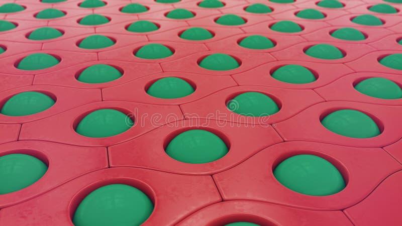 Grüne Bälle und roter Musterzusammenfassungshintergrund, Illustration 3D vektor abbildung