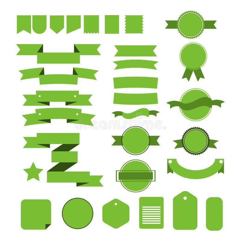 Grüne Bänder eingestellt lokalisiert auf weißem Hintergrund stock abbildung
