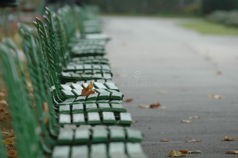 Grüne Bänke lizenzfreies stockbild