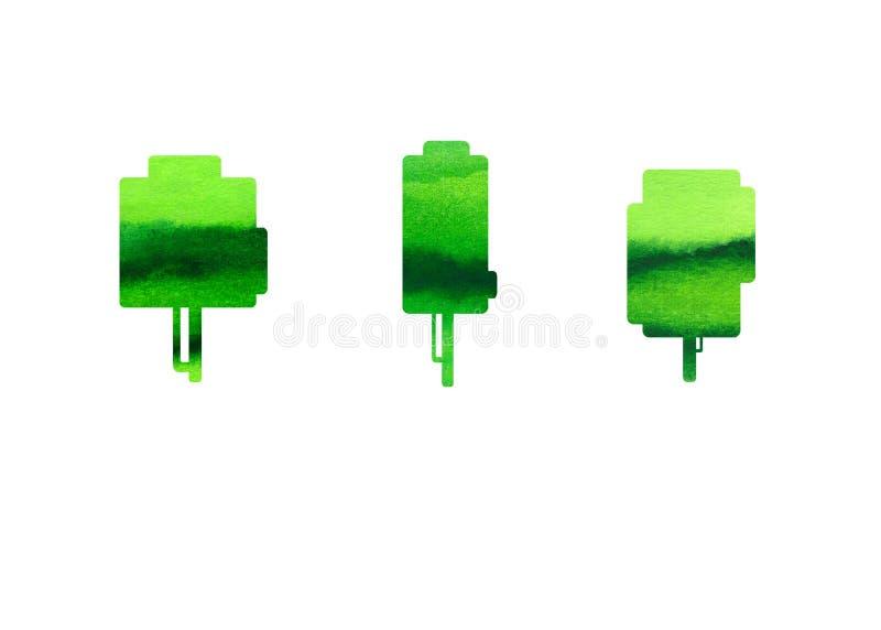 Grüne Bäume auf weißem Hintergrund, Aquarell stock abbildung