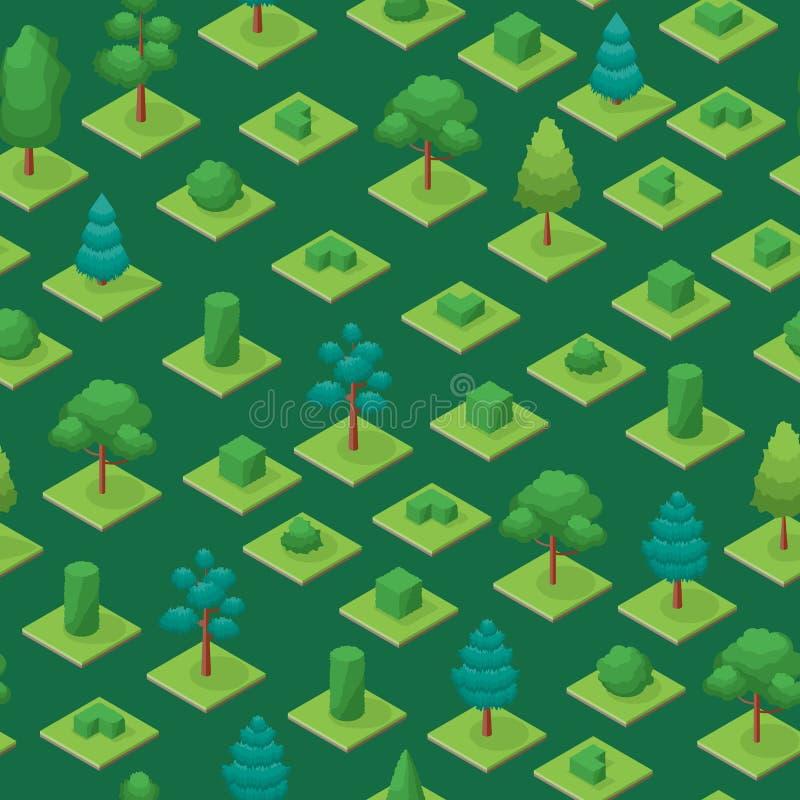 Grüne Bäume parken nahtlose isometrische Ansicht des Muster-Hintergrund-3d Vektor stock abbildung