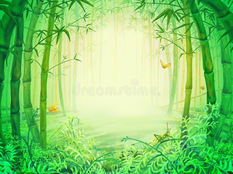 Grüne Bambusbäume innerhalb des Waldes stock abbildung