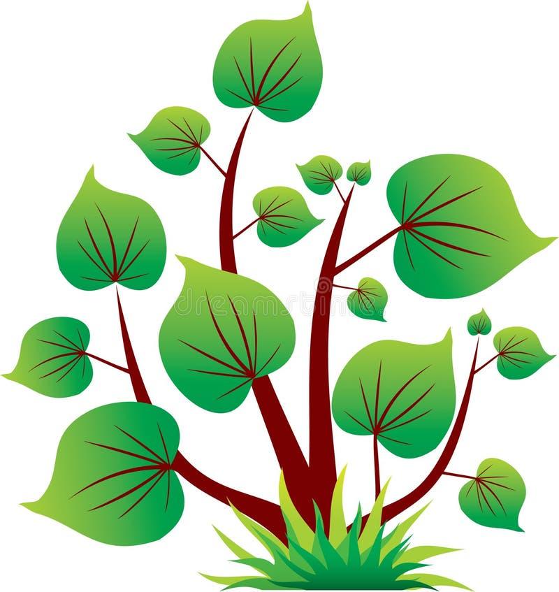 Grüne Baumikone mit dem Blatt getrennt lizenzfreie abbildung