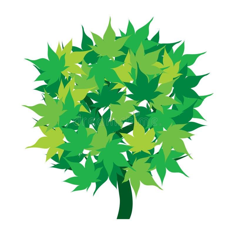 Grüne Baumikone mit den Blättern getrennt lizenzfreie abbildung
