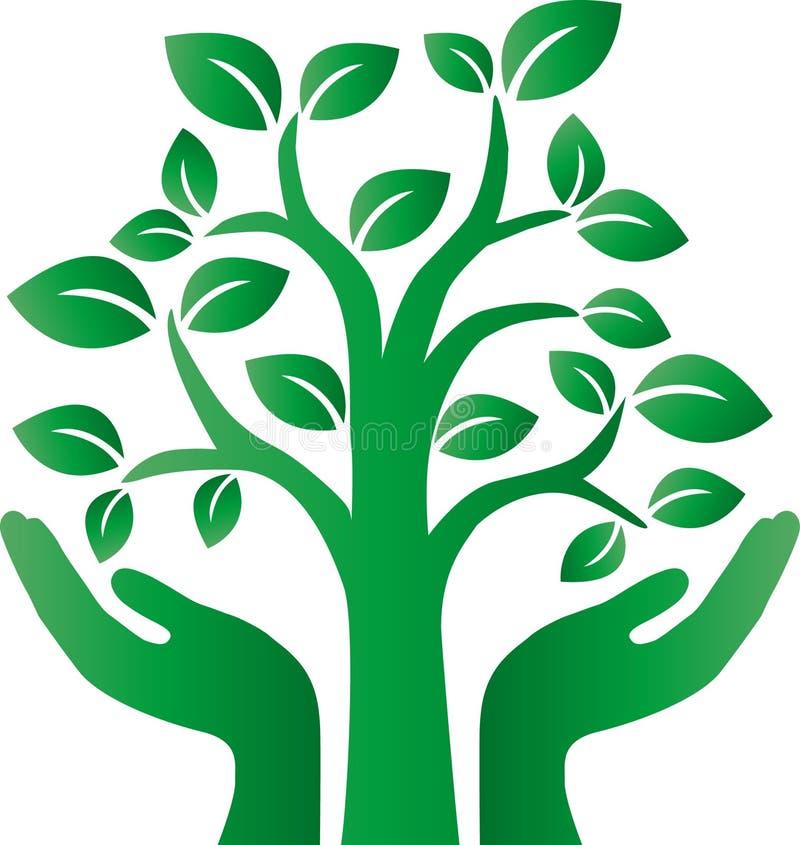 Grüne Baumumgebung umgeben Firmenzeichen stock abbildung
