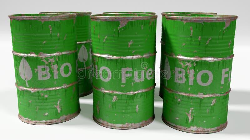 Grüne Biodieselfässer lokalisiert auf Weiß lizenzfreie abbildung