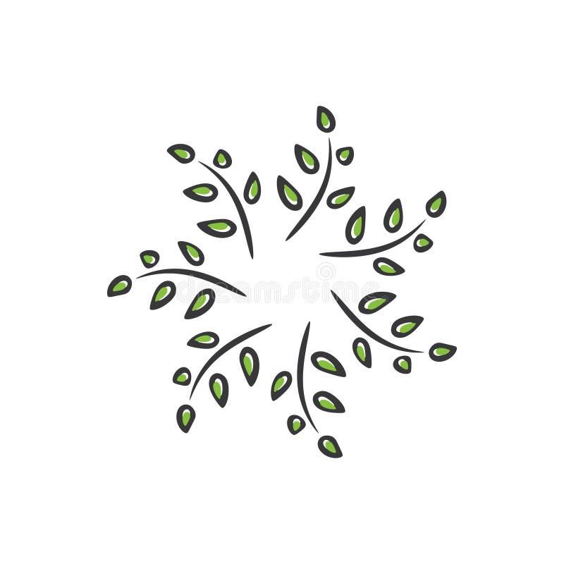Grüne Blätter in einer Strudelkreis-Logoschablone Muster 08 lizenzfreie abbildung