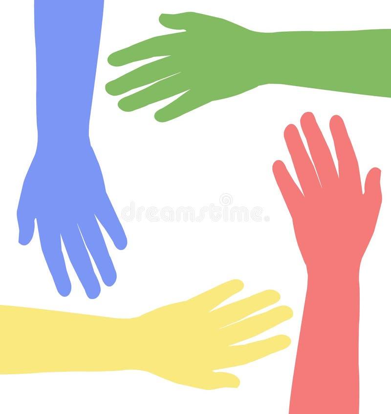 Farbige Hände zusammen, Vektor stock abbildung