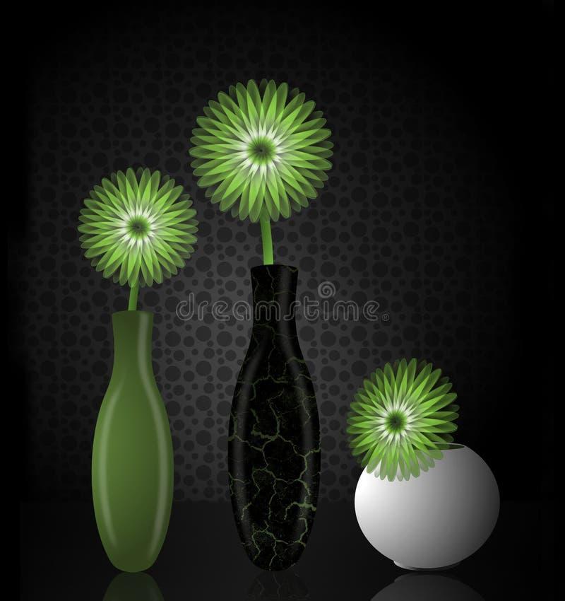 Grüne Blumen und Vasen lizenzfreies stockfoto