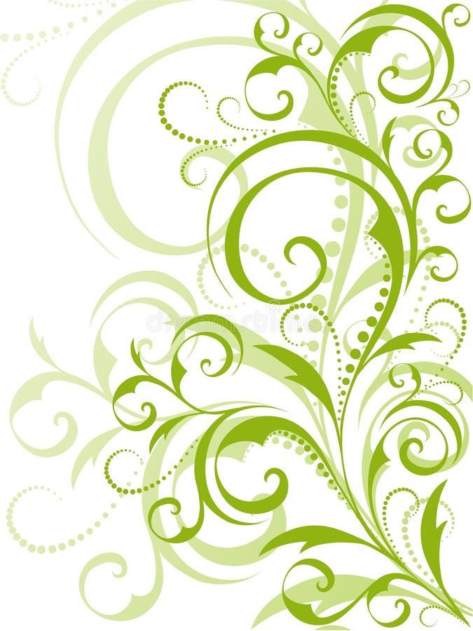 Grüne Blumenauslegung auf weißem Hintergrund lizenzfreie abbildung