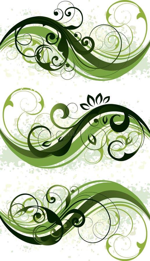 Grüne Blumenauslegungen lizenzfreie abbildung