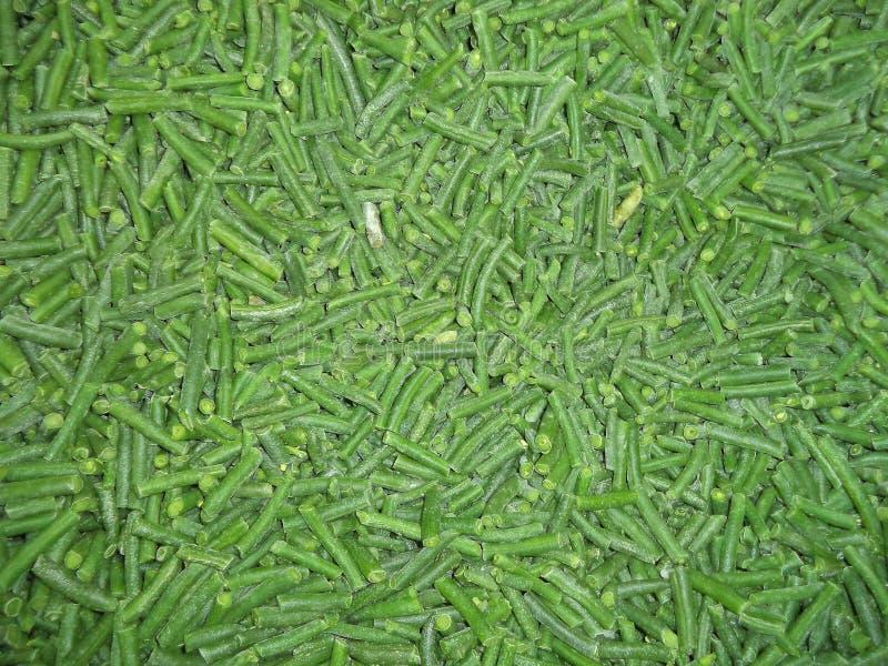 Grüne Bohnen beim Einfrieren stockbild