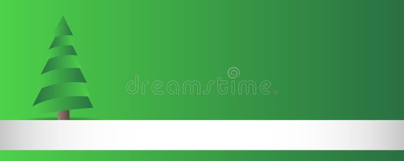 Grüne breite Weihnachtskarte mit Baum stock abbildung