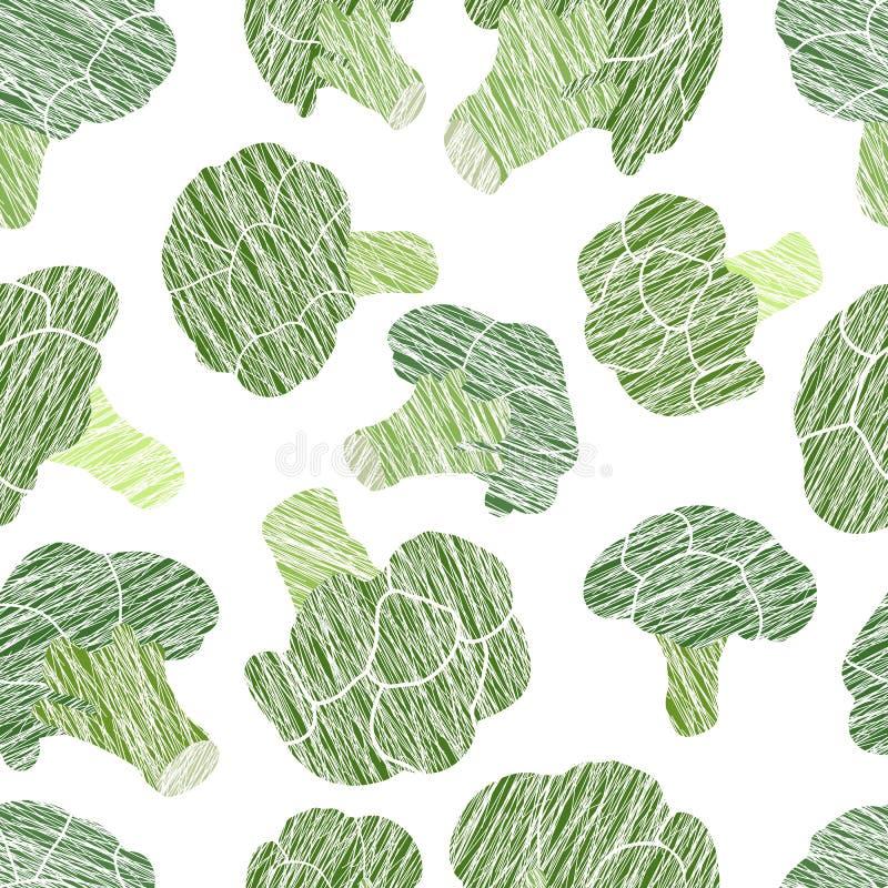 Grüne Brokkolibeschaffenheit Grungy nahtloses Muster lizenzfreie abbildung