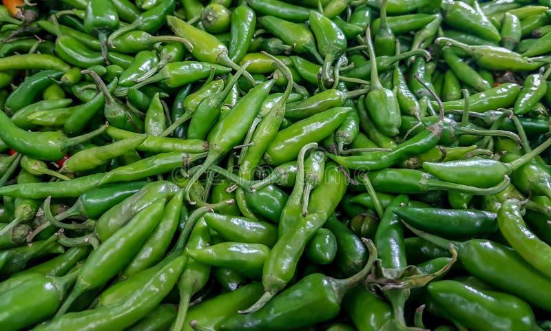 Grüne chillis für den Verkauf angehäuft im Gemüsemarkt lizenzfreie stockfotografie