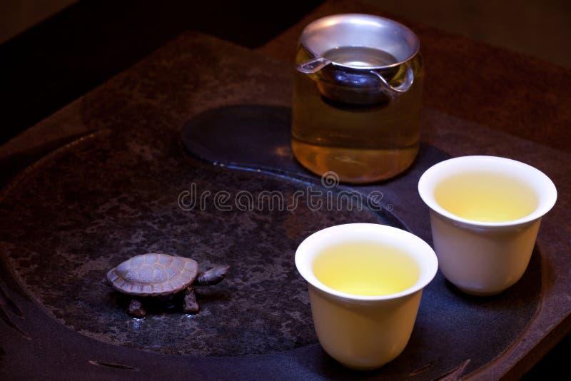 Grüne chinesische Teezeremonie lizenzfreies stockbild
