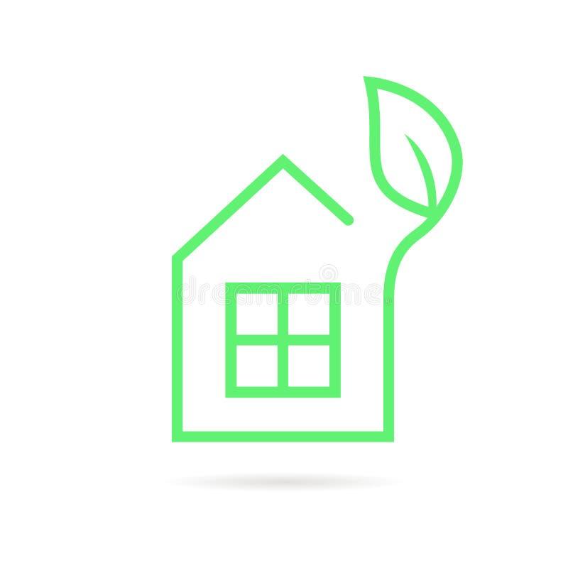 Grüne dünne Linie Öko-Haus-Logo vektor abbildung